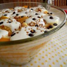Sobremesa divina Trifle de Pêssegos!
