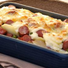 Linguiça gratinada com batata -é demais  de tanta delicia!