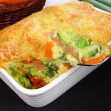 Suflê rápido de legumes e atum