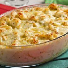 Bacalhau com queijo  -batata e creme de leite